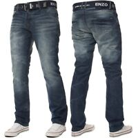 Enzo Mens Designer Straight Leg Denim Jeans Regular Fit Free Belt King Sizes