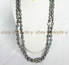 New Long 64 inches 9-10MM Black Freshwater Aquaculture Baroque Pearl Necklace