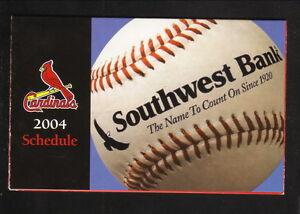 St Louis Cardinals--2004 Pocket Schedule--Southwest Bank