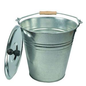 Zinkeimer Ascheeimer 10 Liter mit Deckel, Eimer Dekoeimer, Metalleimer
