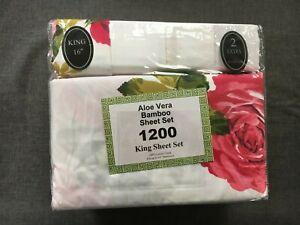 Aloe Vera Bamboo 1800 Series 6 Piece King Sheet Set 100% Cotton Touch Polyester