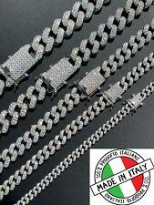 Cadena Real eslabón cubano de Miami Helado Diamante fuera sólido 925 Plata Esterlina Collar