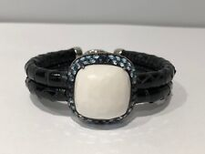 New - Bracelet Bracelet in Silver, Leather Black, Àgata White and Topaz