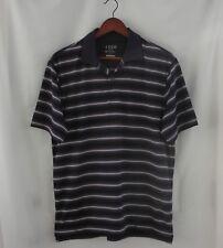 Izod Gold Elite Short Sleeve Polo Shirt Size Medium M Dark Purple Black Stripe