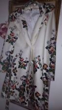 Diseño Estampado Floral Rosas peonía Blanca Abrigo
