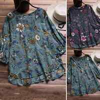 Womens Floral V Neck Baggy Blouse Ladies Plus Size Casual Loose Tunic Tops