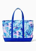 NWT Lilly Pulitzer Mercato Tote Bag Weekender Saltwater Blue Shade Seekers