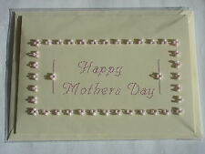 HAND MADE HAND SEWN MOTHERS DAY CARD HAPPY MOTHERS DAY IN PINK WITH BEADWORK