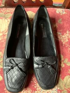 Enzo Angiolini Black Leather Loafers Womens Size 8.5M Shoes Flats