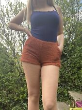 brown shorts with POCKETS zip up side and stretchy fabric size medium