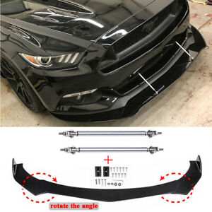 For Ford Mustang GT Focus Mondeo Front Bumper Lip Splitter Spoiler + Strut Rods