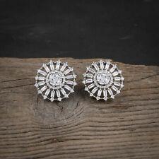 Cubic Zirconia Ear Jewelry Silver Plated Round Stud Earrings Women Gift Earring
