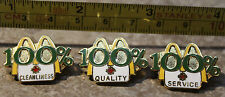 3x McDonalds Canada 100% Cleanliness Service Quality Set Employee Pin Button