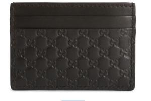 New Gucci Micro Guccissima Monogram GG Logo Leather Black Card Holder