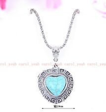 new Christmas!Tibet silver inlaid natural turquoise girl& heart necklace pendant