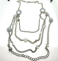 Vintage Silver Tone Multi Chain Long Beaded Necklace Jewelry