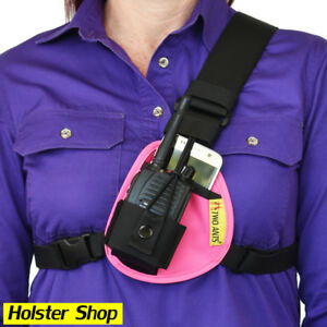 Phone & Radio Holster Chest Harness - Left - Pink - Two Ants Worker CT000SLPK