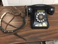 Vintage Rotary Dial Phone Telephone BLACK Antique Mid Century Classic UNTESTED