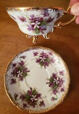Charming Vintage Trimont China Violets Three Footed Tea Cup and Saucer Japan