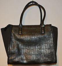 Warehouse Black Crocodile Effect Day Bag Snakeskin Handbag Gold Zip Closure