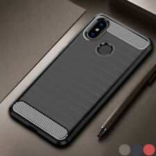 PARACHOQUES Cepillado de Lujo de fibra de carbono de silicona suave de goma trasera Carcasa Protectora De Teléfono