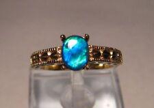 BLUE GEM GRADE Solitaire Natural Australian Black Opal Filigree  Ring 14 k Gold
