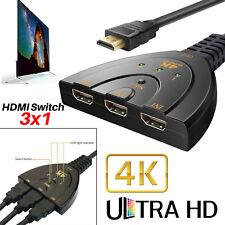 3 Port Ultra HD HDMI Switch Switcher Splitter Adapter Hub HDTV LCD 4K*2K 2160P