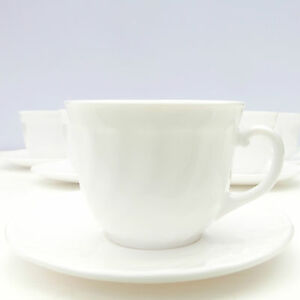 Vintage French Arcopal Trianon Swirl White Glass Tea Coffee Set 5 Cups Saucers