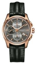 H32546781 Hamilton Jazzmaster Auto Chrono Grey Rose Black Leather Mens Watch