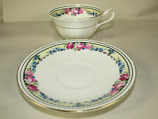 Anchor China Bridgwood England Blue/Pink Flowers Roses Cup & Saucer Set