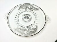 25th Anniversary Glass Cake Plate W/Handles Lily of The Valley Sterling Overlay