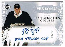 2007-08 Upper Deck Trilogy Personal Scripts Autograph Jean-Sebastien Giguere /25