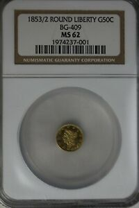 1853/2 G50C NGC MS62 ROUND LIBERTY BG-409, California Fractional Gold,