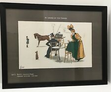 Edwards Thackeray Antique Color Lithograph Lady Horse Carriage 1902
