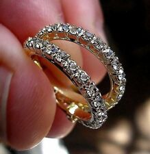 GENUINE 9ct Gold gf Hoop Earrings WHITE TOPAZ! ALMOST SOLD OUT, SILLY PRICE 086