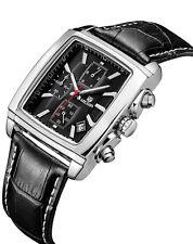 MEGIR Quartz Chronograph Mens Business Casual Watch Leather Wrist Formal Fashion