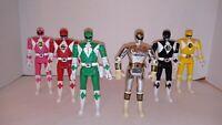 """1993 MMPR Flip Head lot of 5  5"""" Figure and Chrome White Ranger"""