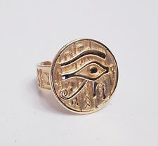 New Solid Yellow Gold 10k Egypt Eye of Horus Ring Size 6.5-7 Adjustable