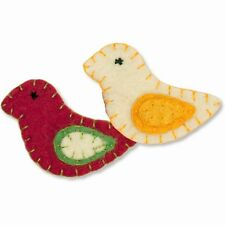 Holiday Birds 100% Wool Embellishments Needle Felting Appliques