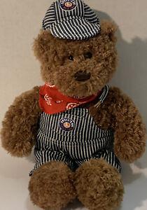 "Gund Lionel Train Engineer Plush Teddy Bear Rare HTF Stuffed Animal 16"" 2013"