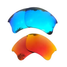 2 Pair Blue&Orange Red Replacement Lenses for-Oakley Flak Jacket XLJ Polarized
