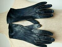 BACMO Glace Kid Leather Gloves Short Gauntlet Driving Navy Blue 6 1/4 VC