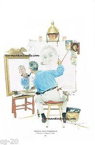 "NORMAN ROCKWELL VINTAGE print ""TRIPLE SELF-PORTRAIT"" 8x10"" Saturday Evening Post"