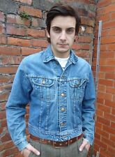 VINTAGE MENS RETRO SKINNY FITTED LEE FADED DENIM WASHED OUT JACKET L