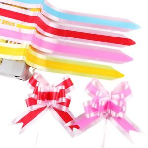 100X Dichromatic Pull Bows Ribbon for Bouquet Gift Packing Wedding Car Art Decor