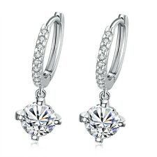 "Platinum Plated Earrings Dangle Drop AAA Zirconia Lever Back  0.2"" L163"