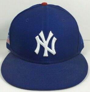 New ERA 59FIFTY 7 5/8 Fitted New York Yankees Hat Blue MBL and American Flag