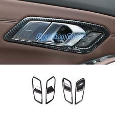 4PCS Carbon Fiber Inner Door Handle Frame Cover Trim For BMW 3 Series G20 2020