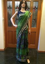 A39 Indian Designer Saree Bollywood Party Wear Diwali Sari Dress Green Black Net
