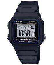 Mens Casio W217H-1 Illuminator Black Rubber Classic Digital Alarm 50M Watch